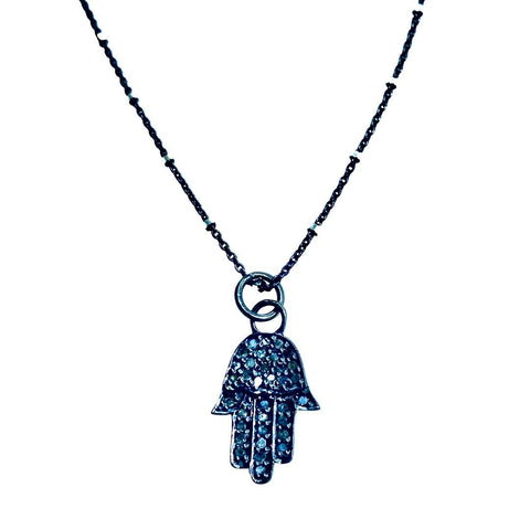 Diamond Pave Hamsa Short Necklace