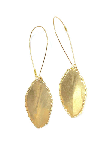 Vintage Brass Leaf Earrings - Irit Sorokin Designs Canadian handmade jewelry