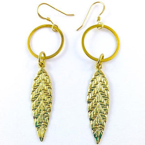 Gold Leaf Dangle Earrings - Irit Sorokin Designs Canadian handmade jewelry