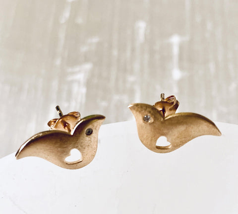 Dove Stud Earrings - Irit Sorokin Designs Canadian handmade jewelry