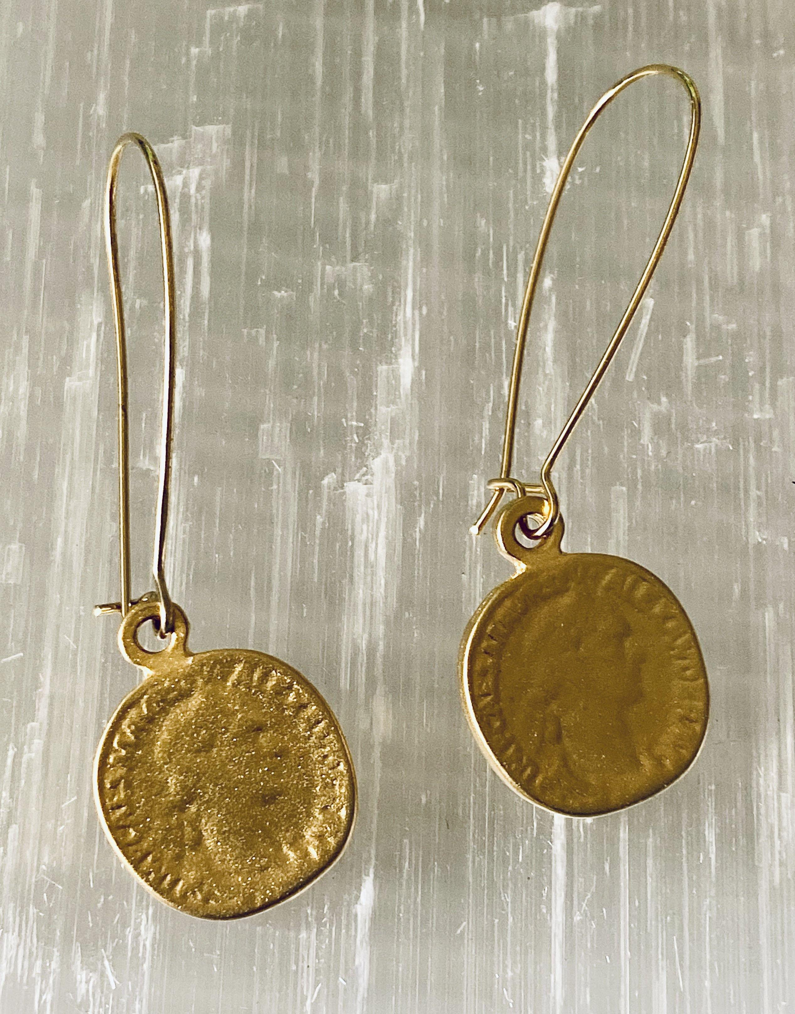 Gold Roman Coin Earrings - Irit Sorokin Designs Canadian handmade jewelry