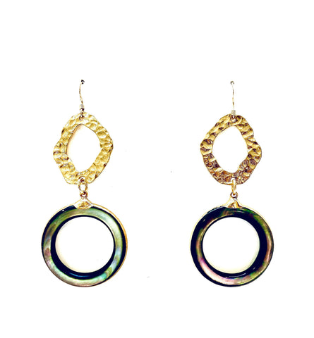 Mother Of Pearl Hoop Earrings - Irit Sorokin Designs Canadian handmade jewelry