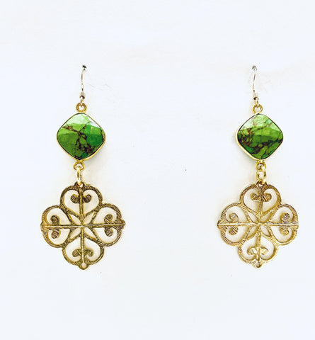 Tibetan Green Turquise Gold Earrings - Irit Sorokin Designs Canadian handmade jewelry
