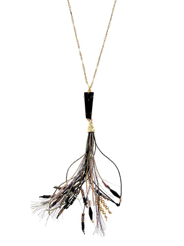 Black Onyx Pendant with Tassel long Gold Necklace - Irit Sorokin Designs Canadian handmade jewelry