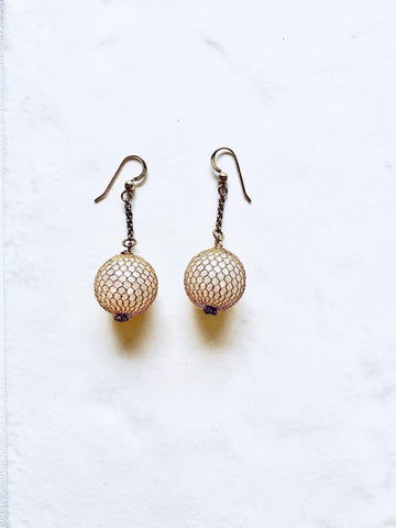 Pearl Mesh Earrings - Irit Sorokin Designs Canadian handmade jewelry