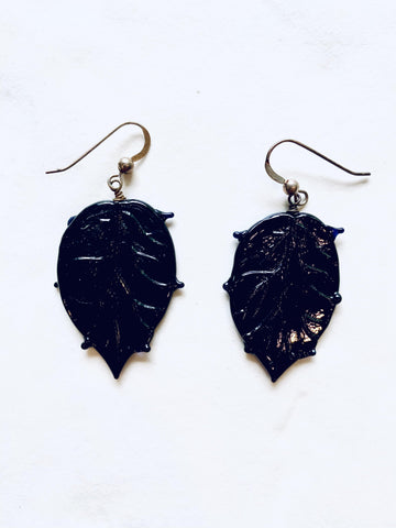 Handblown Glass Leaf Earrings - Irit Sorokin Designs Canadian handmade jewelry