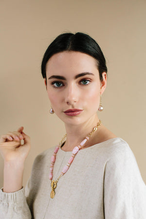 Ancient Coin and Pink Peruvian Opal Necklace - Irit Sorokin Designs Canadian handmade jewelry
