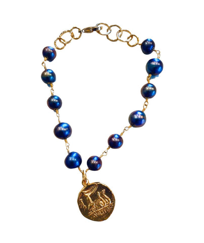 Freshwater Pearls And  Roman Coin Bracelet - Irit Sorokin Designs Canadian handmade jewelry