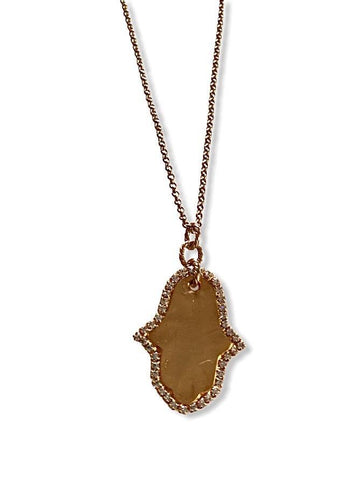 Hamsa Long Gold With Cubic Zirconium Necklace - Irit Sorokin Designs Canadian handmade jewelry