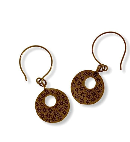 Bronze Dangle Small Hoop Earrings - Irit Sorokin Designs Canadian handmade jewelry
