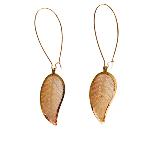 Leaf Gold Earrings - Irit Sorokin Designs Canadian handmade jewelry