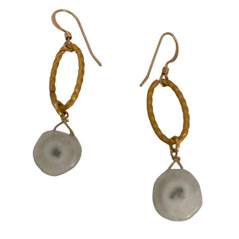Astro Quartz Gold Earrings - Irit Sorokin Designs Canadian handmade jewelry