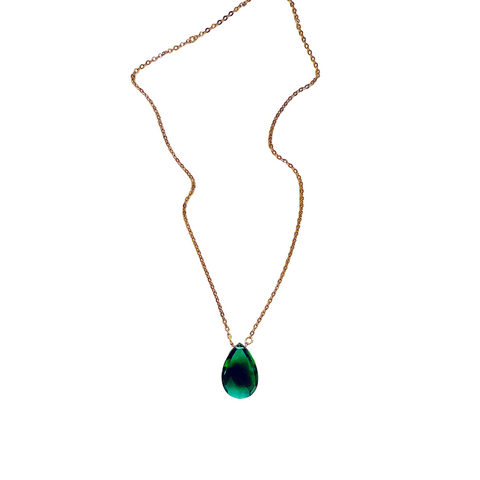 Green Topaz Gold Necklace - Irit Sorokin Designs Canadian handmade jewelry