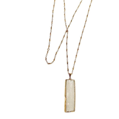 Long Gold Selenite Pendant Necklace - Irit Sorokin Designs Canadian handmade jewelry
