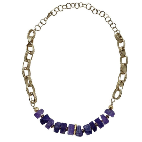 Amethyst Statement Gold Necklace - Irit Sorokin Designs Canadian handmade jewelry
