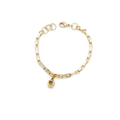 Pyrite and Gold Filled Chain Bracelet