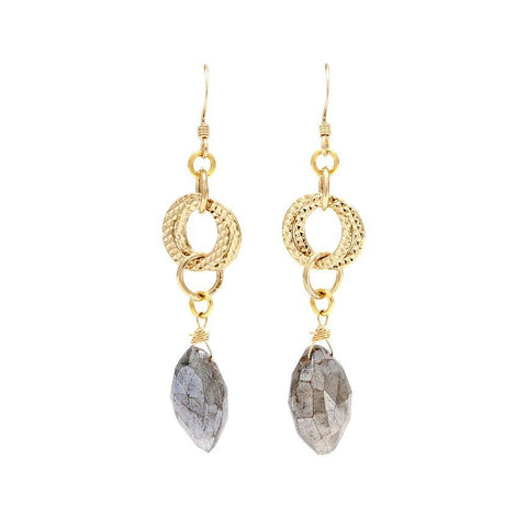 Labrodorite Gold Dangle Earrings - Irit Sorokin Designs Canadian handmade jewelry
