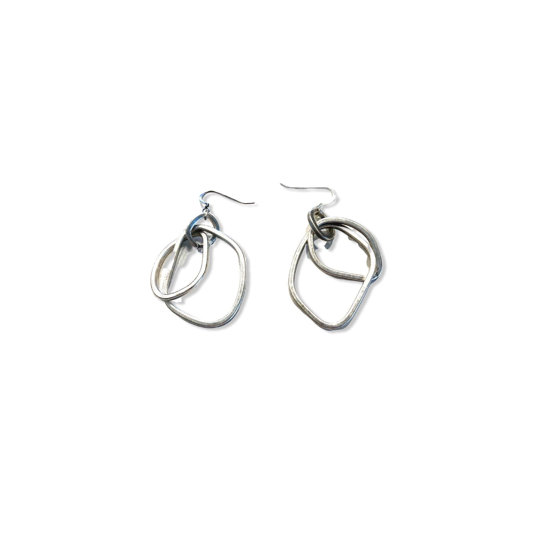 Double Hoop Silver Earrings - Irit Sorokin Designs Canadian handmade jewelry