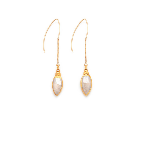 Moonstone Teardrop Gold Earrings - Irit Sorokin Designs Canadian handmade jewelry
