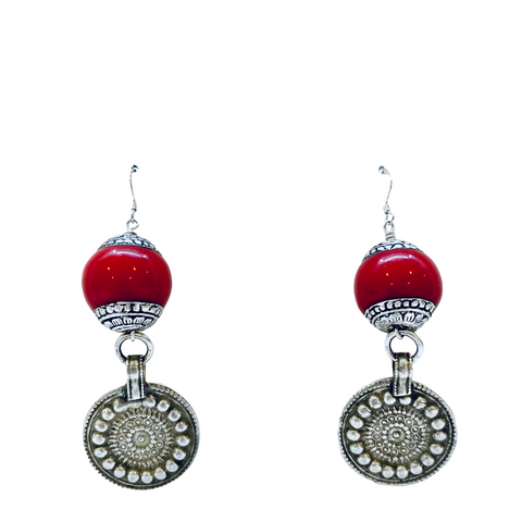 Coral Antique Nepalese Earrings