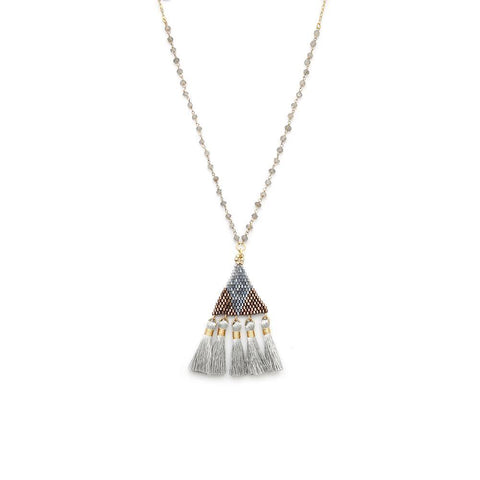 Beaded Tassel Labradorite Necklace - Irit Sorokin Designs Canadian handmade jewelry