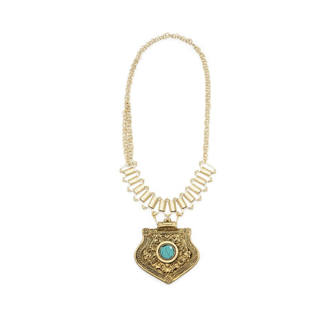 Gold Turquoise Vintage Pendant Necklace - Irit Sorokin Designs Canadian handmade jewelry