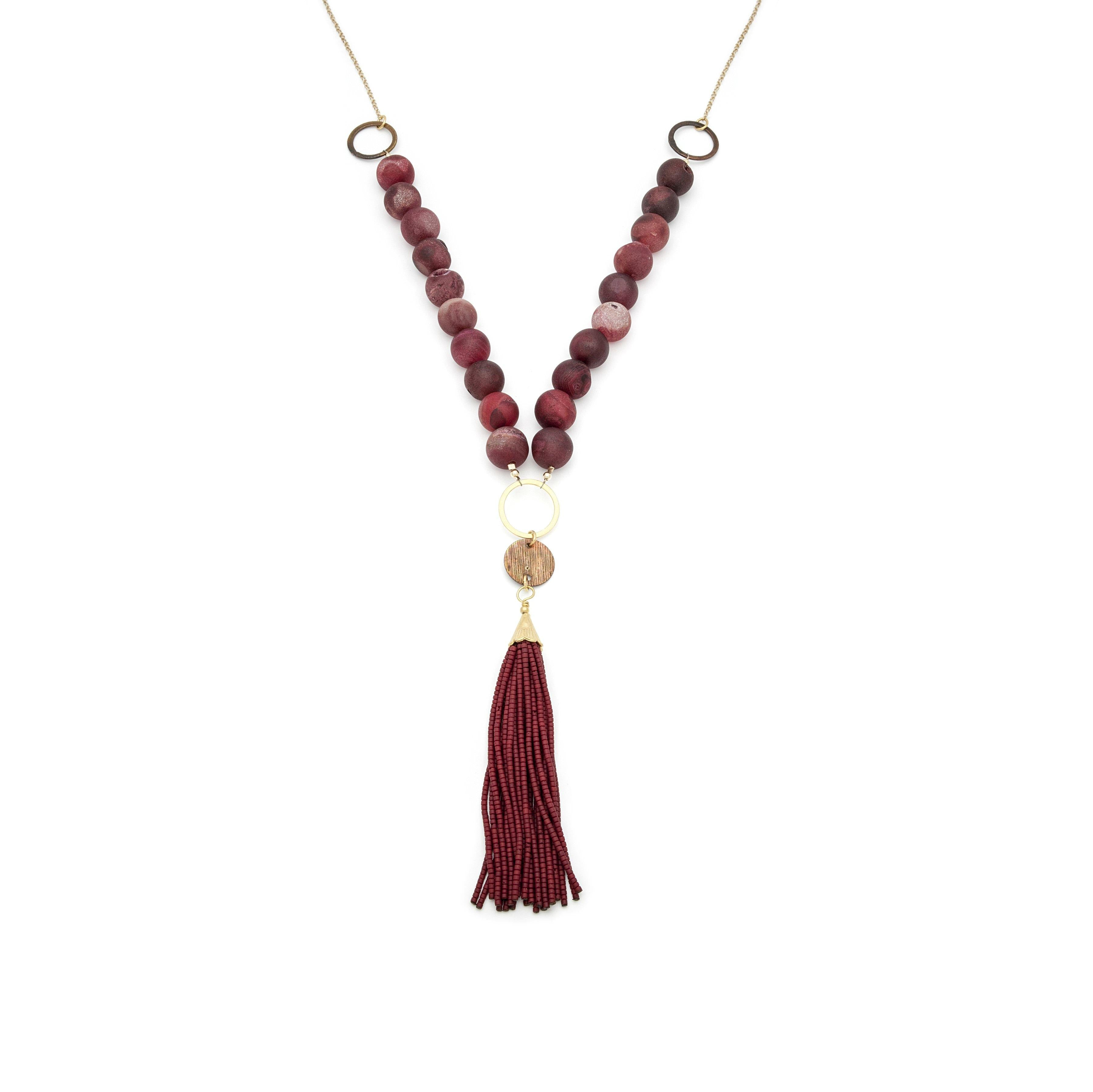 Geode Tassel Gold Necklace - Irit Sorokin Designs Canadian handmade jewelry
