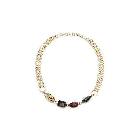 Three Gems, Ruby, Sapphire, Emerald Gold Necklace - Irit Sorokin Designs Canadian handmade jewelry