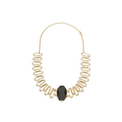 Black Onyx Gold Filled Statement Necklace