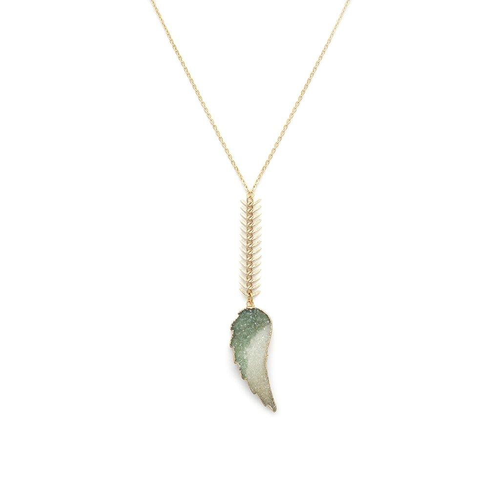 Druzy Angel Wing Necklace - Irit Sorokin Designs Canadian handmade jewelry