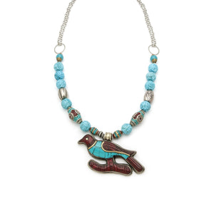 Napalese Inlaid Turquoise and Coral Necklace - Irit Sorokin Designs Canadian handmade jewelry