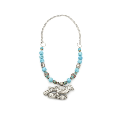 Napalese Inlaid Turquoise and Coral Necklace
