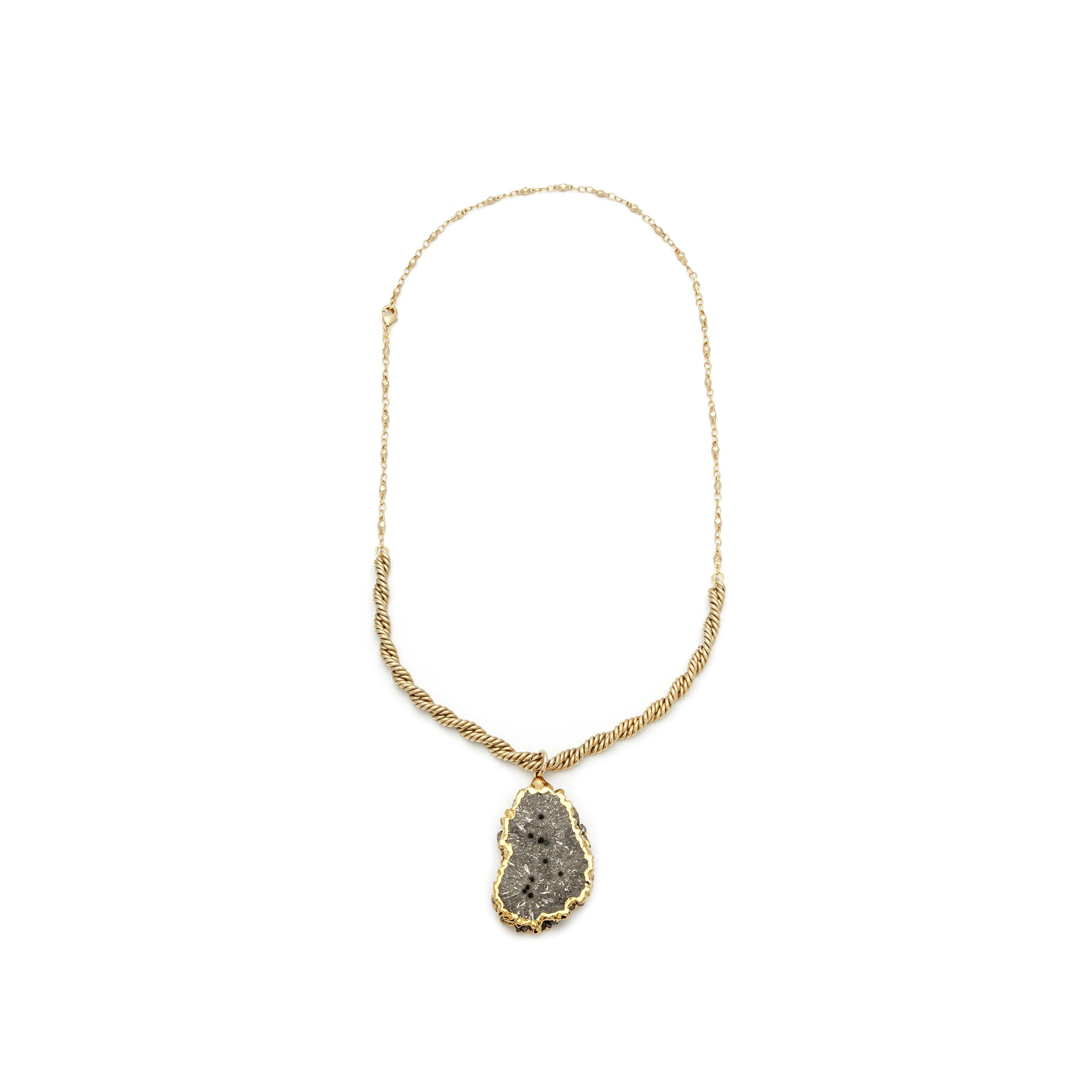 Double-Sided Pyrite Pendant Necklace