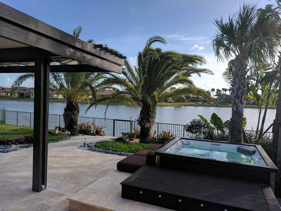 Tropical Landscape Installed With Modern Jacuzzi In Parkland