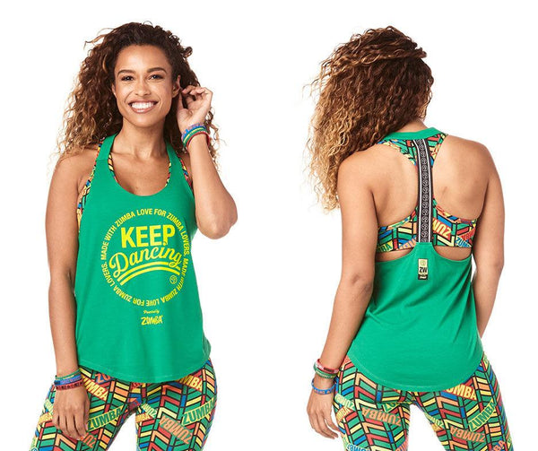 Zumba Fitness Keep Dancing Tank - Groovin Green