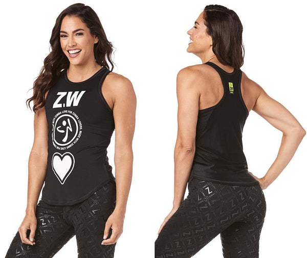 Zumba Fitness Made With Zumba Love High Neck Tank - Bold Black