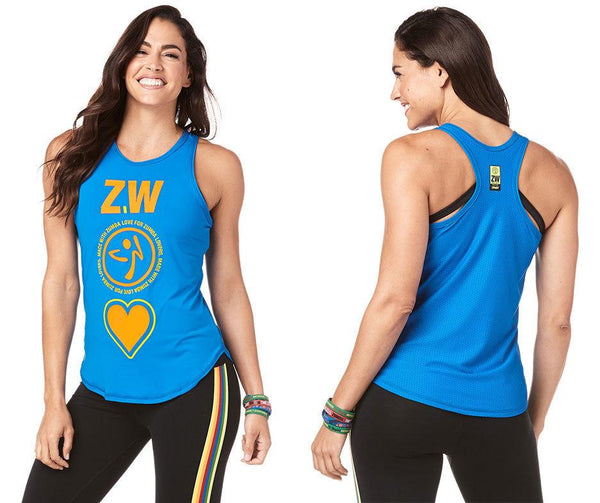 Zumba Fitness Made With Zumba Love High Neck Tank - True Blue