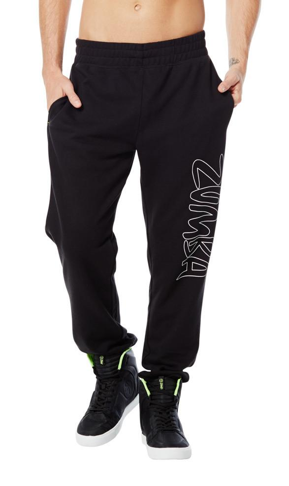 Zumba Fitness Men's Fab French Terry Pants - Sew Black
