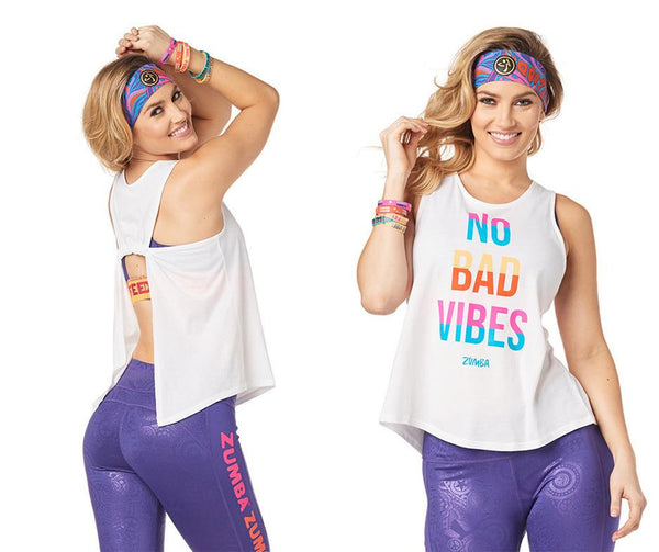 Zumba Fitness No Bad Vibes Open Back Tank - Wear It Out White