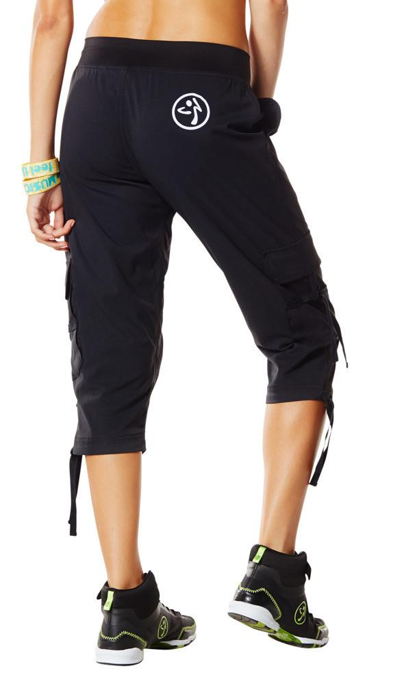 Zumba Fitness Oh-So-Soft Stretch Cargo Capris - Back to Black