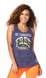 Zumba Fitness Be Yourself Twisted Back Tank - Night Sky