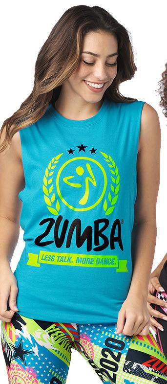 Zumba Fitness Less Talk More Dance Muscle Tank - Blue