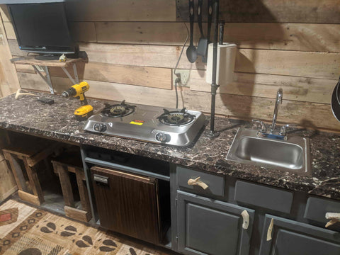 Shipping Container Cabin Sink and Bench