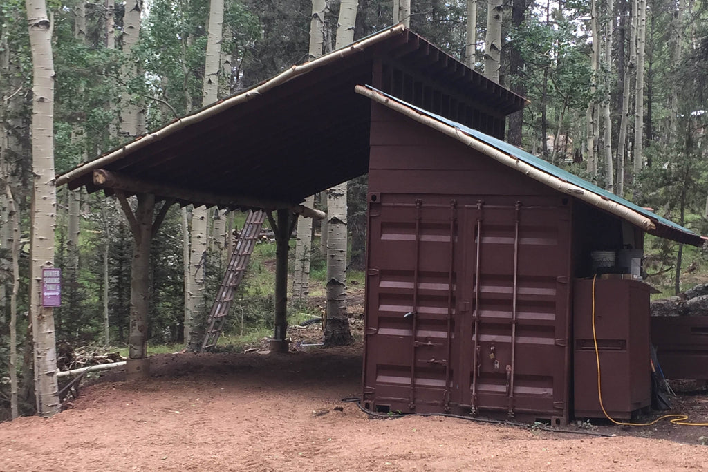 Shipping Container Lean-to in the woods