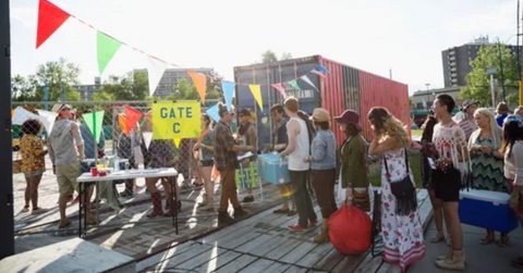 Shipping container used at local festival