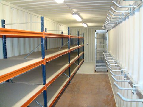 Shipping Container Storage with Shelving