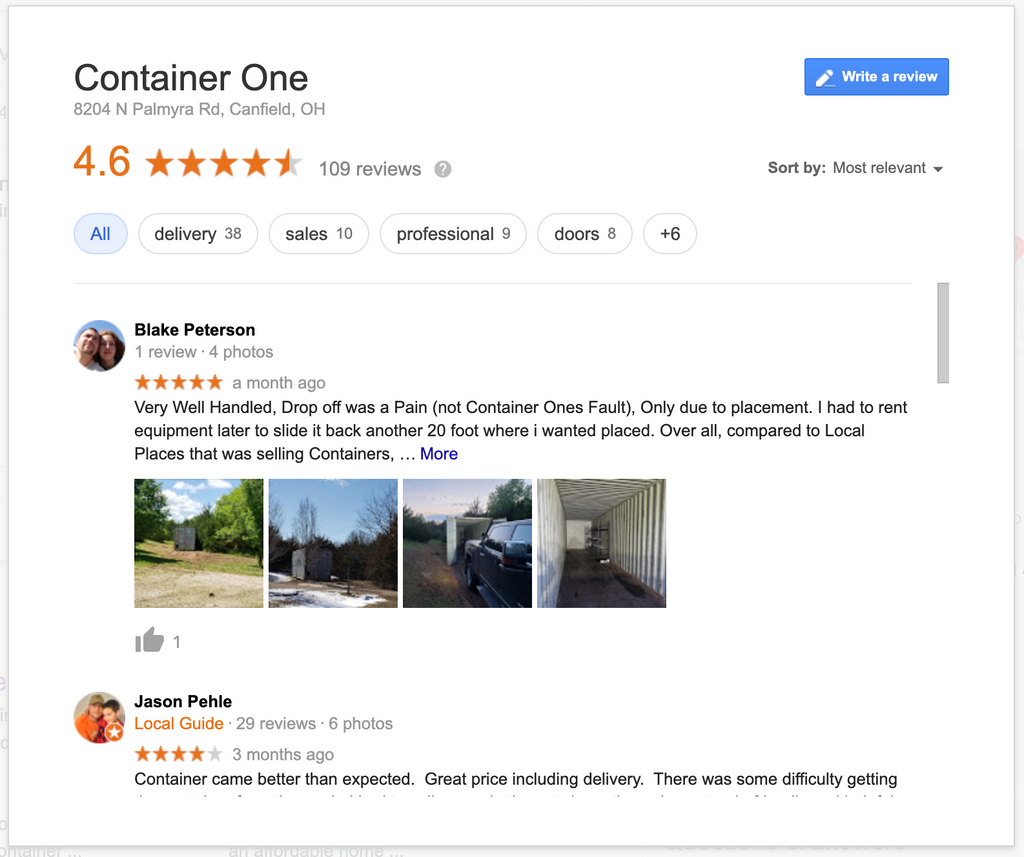 Container One Google Reviews