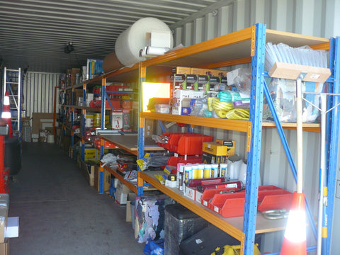 Shipping Container Storage with Shelving Units