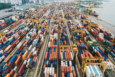 Shipping Container Yard Aerial View