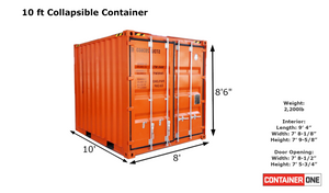 10 ft Collapsable New Shipping Container (10CLNEW) Specifications